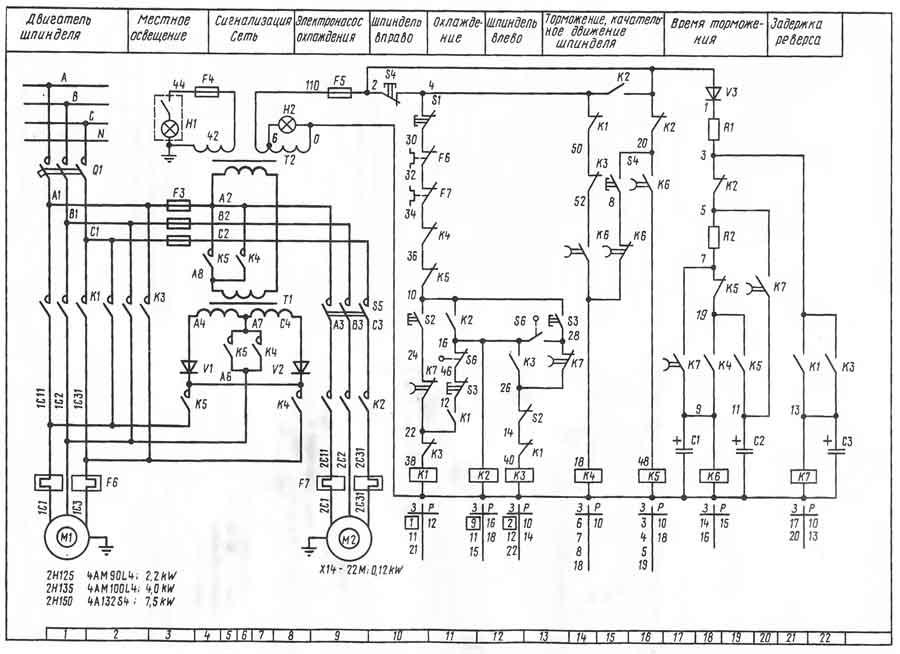 Сверлильный станок 2н135 схема электрическая